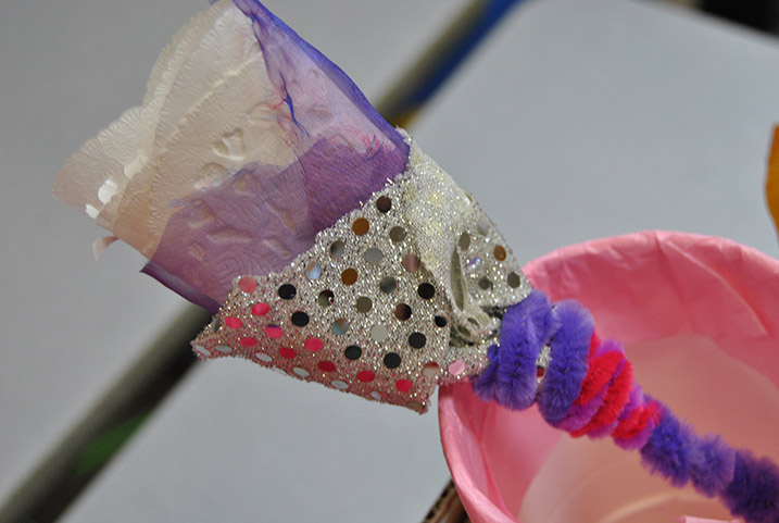 paper flowers made by pupils